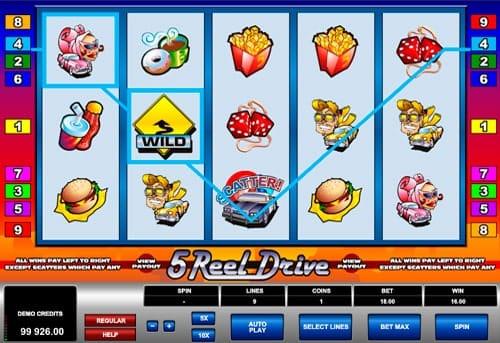 выигрыш с Wild в аппарате 5 Reel Drive