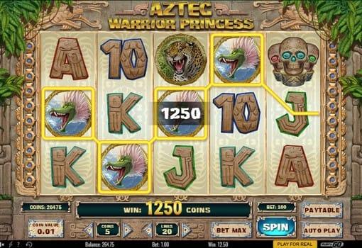 Выигрышная комбинация в игровом автомате Aztec Warrior Princess
