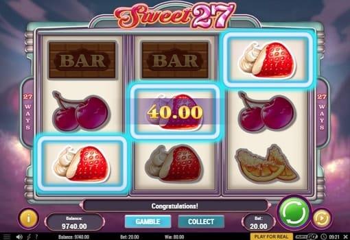 Комбинация из клубничек в автомате Sweet 27