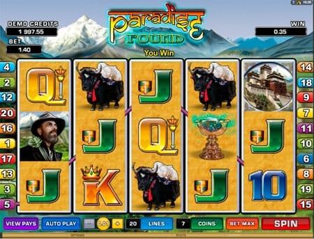Комбинация символов на линии игрового автомата Paradise Found