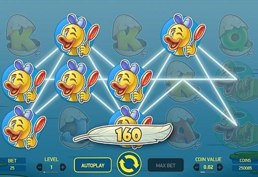 Призовая комбинация символов в игровом автомате Scruffy Duck