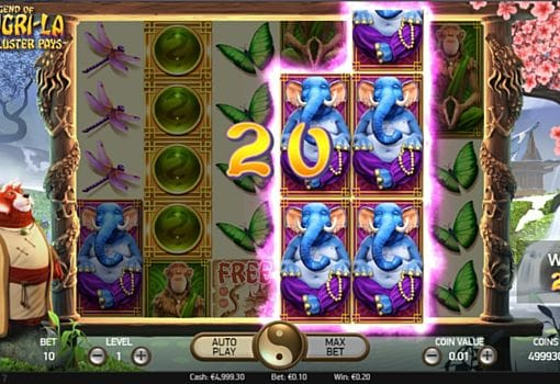 Выигрышная комбинация символов в игровом автомате The Legend of Shangri-La
