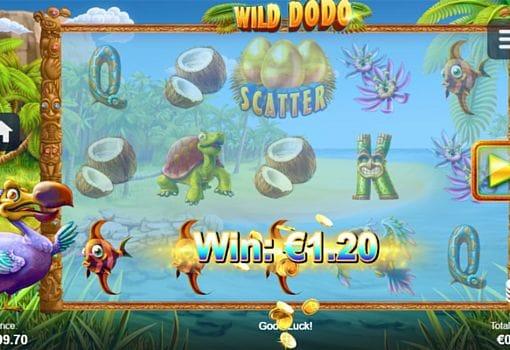 Призовая комбинация символов в игровом автомате Wild Dodo