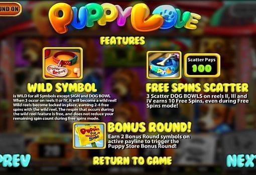 Выплаты за символы в онлайн слоте Puppy Love
